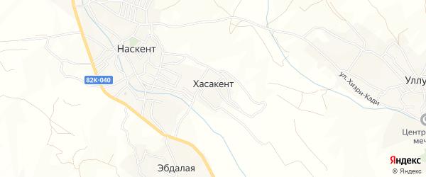 Карта села Хасакента в Дагестане с улицами и номерами домов