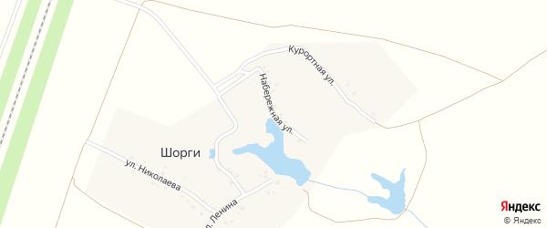 Набережная улица на карте деревни Шоргов Чувашии с номерами домов