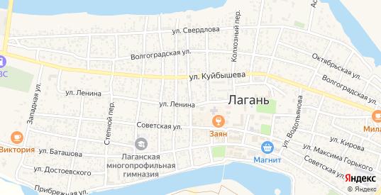 Комсомольский переулок в Лагани с номерами домов на карте. Спутник и схема онлайн