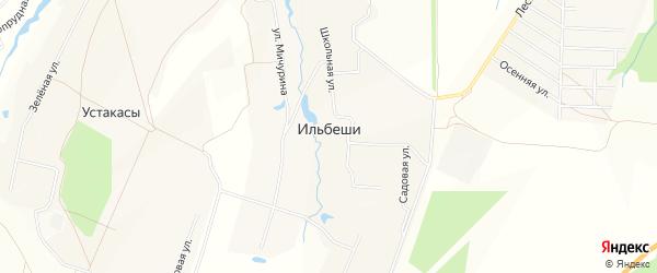 Карта деревни Ильбеши в Чувашии с улицами и номерами домов