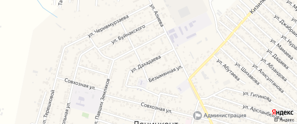 Улица Дахадаева на карте поселка Ленинкента с номерами домов