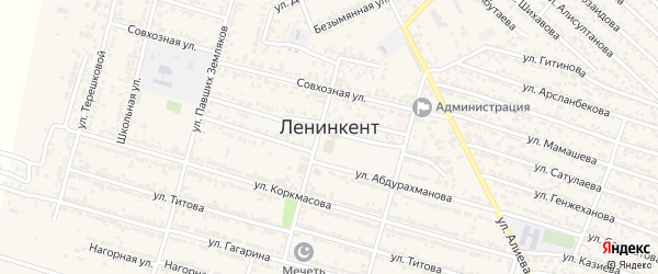 Зеленая улица на карте поселка Ленинкента с номерами домов