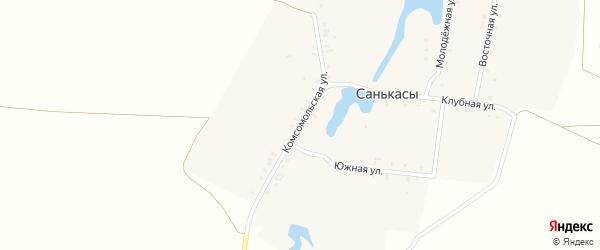 Комсомольская улица на карте деревни Санькас с номерами домов