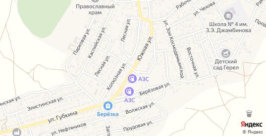 Южная улица в Лагани с номерами домов на карте. Спутник и схема онлайн