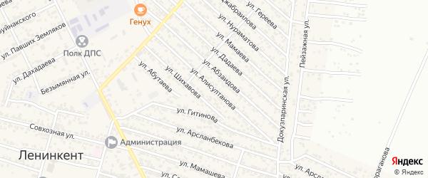 Улица Алисултанова на карте поселка Ленинкента с номерами домов
