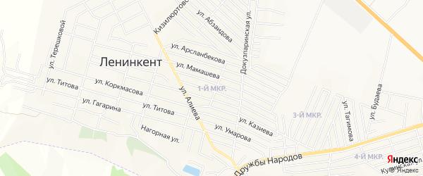 Микрорайон 1 на карте поселка Ленинкента с номерами домов