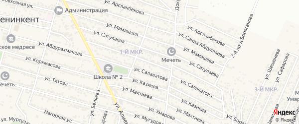 Улица Генжеханова на карте поселка Ленинкента с номерами домов