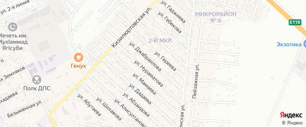 Улица Джабраилова на карте поселка Ленинкента с номерами домов