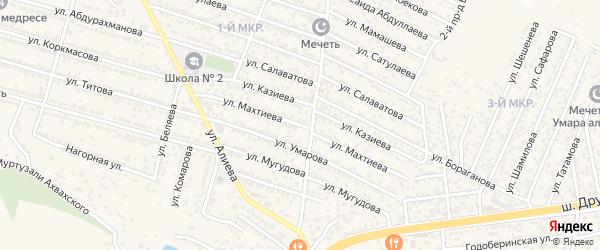 Улица Махтиева на карте поселка Ленинкента с номерами домов