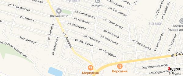 Улица Умарова на карте поселка Ленинкента с номерами домов