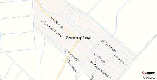 Карта села Богатыревка в Махачкале с улицами, домами и почтовыми отделениями со спутника онлайн