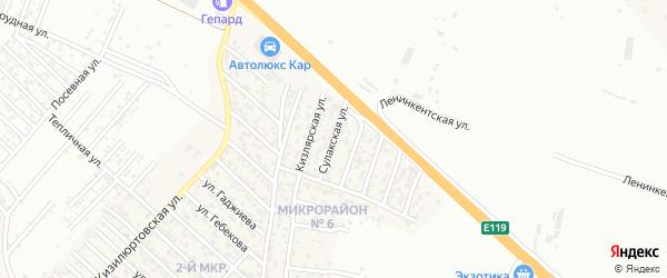 Сулакская улица на карте поселка Ленинкента с номерами домов