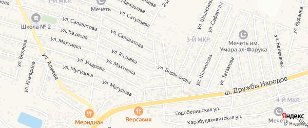 Улица Бораганова на карте поселка Ленинкента с номерами домов
