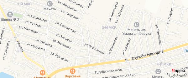 Бораганова 1-й проезд на карте поселка Ленинкента с номерами домов