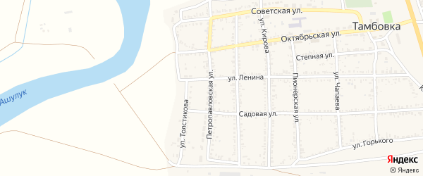 Петропавловская улица на карте села Тамбовки Астраханской области с номерами домов