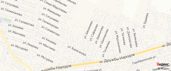 Улица Шешенева на карте поселка Ленинкента с номерами домов