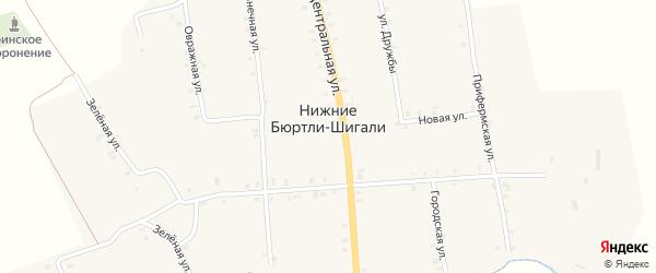 Зеленая улица на карте деревни Нижние Бюртли-Шигали с номерами домов