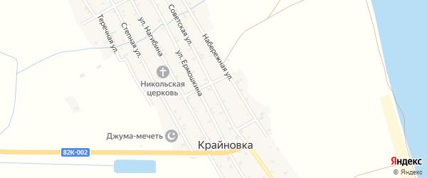 Советская улица на карте села Крайновки Дагестана с номерами домов