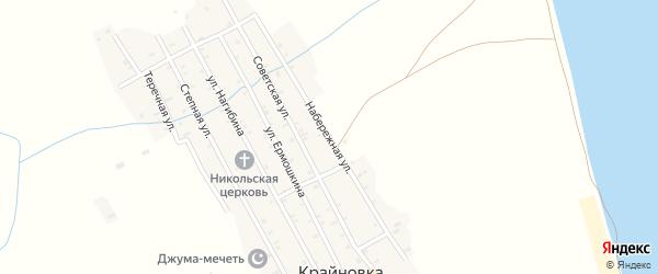 Набережная улица на карте села Крайновки Дагестана с номерами домов