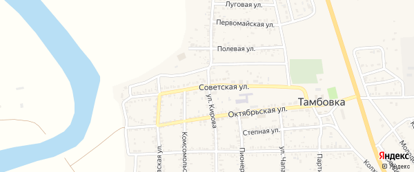 Советская улица на карте села Тамбовки Астраханской области с номерами домов