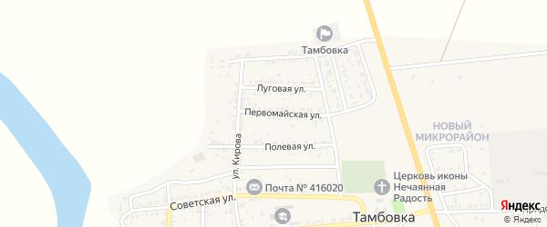 Первомайская улица на карте села Тамбовки Астраханской области с номерами домов