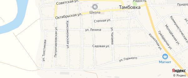 Пионерская улица на карте села Тамбовки Астраханской области с номерами домов