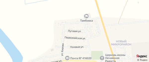 Луговая улица на карте села Тамбовки Астраханской области с номерами домов
