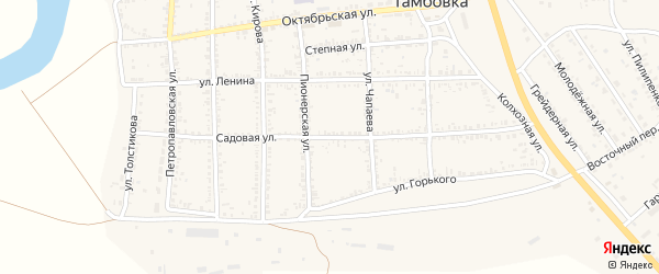 Садовая улица на карте села Тамбовки Астраханской области с номерами домов