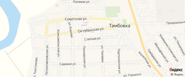 Степная улица на карте села Тамбовки Астраханской области с номерами домов