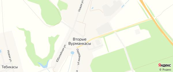 Карта деревни Вторые Вурманкасы в Чувашии с улицами и номерами домов