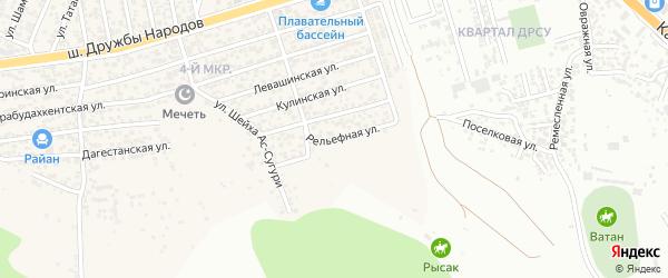 Рельефная улица на карте поселка Ленинкента с номерами домов