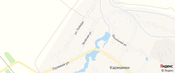 Зеленая улица на карте деревни Кармамеи с номерами домов