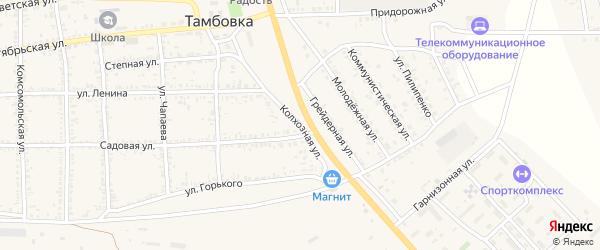 Колхозная улица на карте села Тамбовки Астраханской области с номерами домов