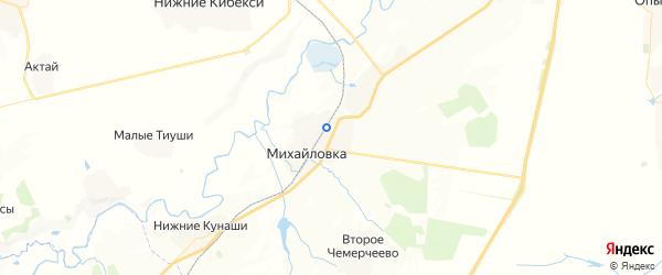 Карта Михайловского сельского поселения Республики Чувашии с районами, улицами и номерами домов