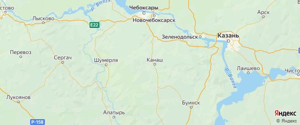 Карта Канашского района Республики Чувашии с городами и населенными пунктами