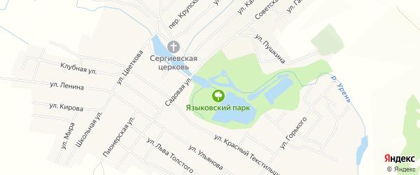 Карта поселка Языково в Ульяновской области с улицами и номерами домов