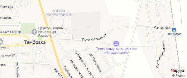 Придорожная улица на карте села Тамбовки Астраханской области с номерами домов