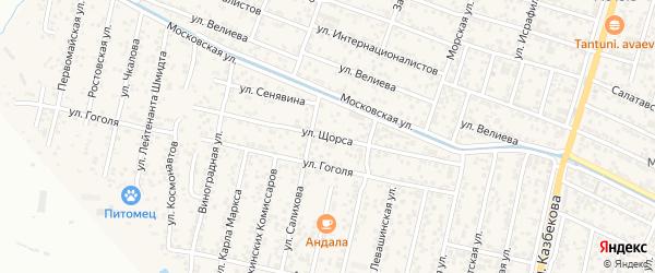 Улица Щорса на карте поселка Семендера с номерами домов