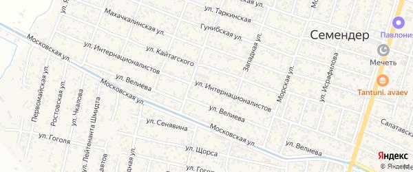 Улица Интернационалистов на карте поселка Семендера с номерами домов