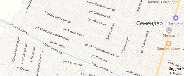 Улица Кайтагского на карте поселка Семендера с номерами домов