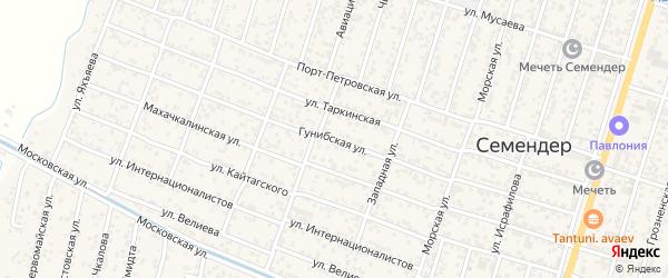 Гунибская улица на карте поселка Семендера с номерами домов