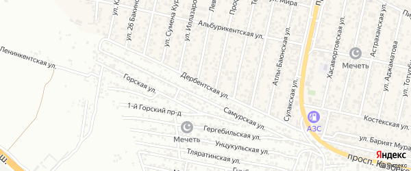Дербентская улица на карте поселка Семендера с номерами домов