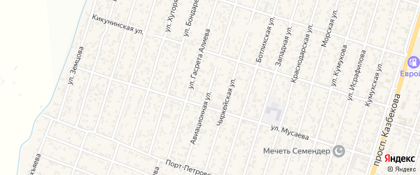 Авиационная улица на карте поселка Семендера с номерами домов