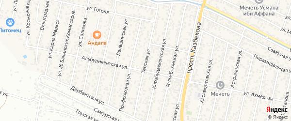 Терская улица на карте поселка Семендера с номерами домов