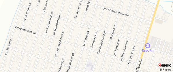 Ботлихская улица на карте поселка Семендера с номерами домов