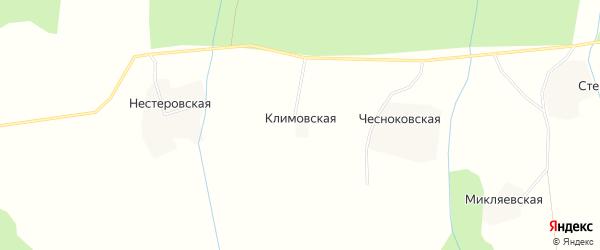 Карта Климовской деревни в Архангельской области с улицами и номерами домов