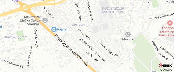 Улица Кулиева на карте микрорайона Ватана с номерами домов