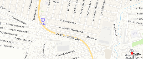Улица Барият Мурадовой на карте поселка Семендера с номерами домов