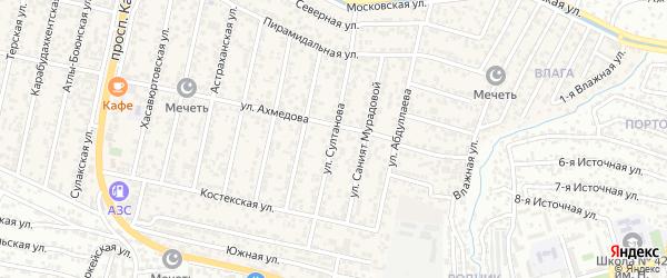 Улица Султанова на карте поселка Семендера с номерами домов