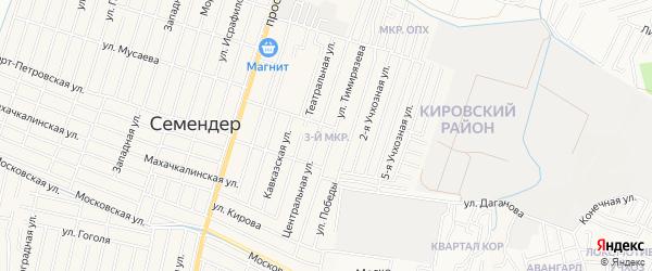 Микрорайон 3 на карте поселка Семендера с номерами домов